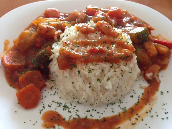 Verduras a la plancha con arroz