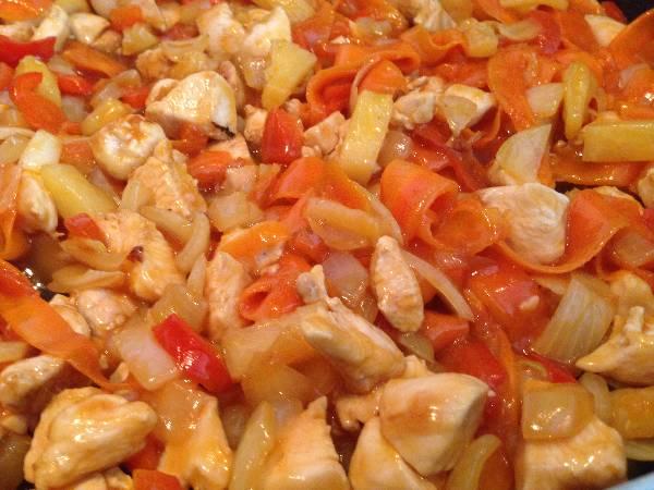 Pollo con verduras agridulce